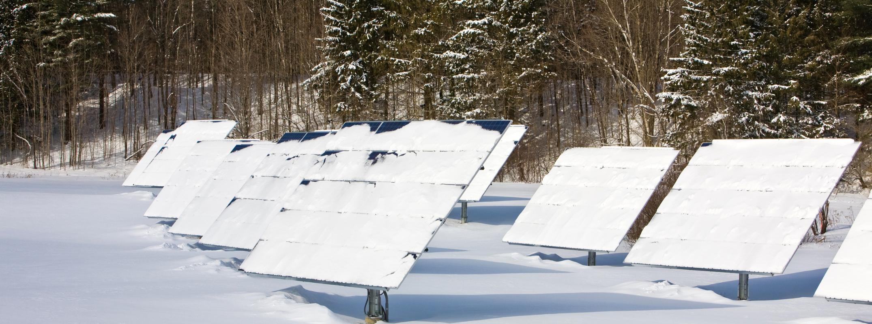 Solar panels during snow